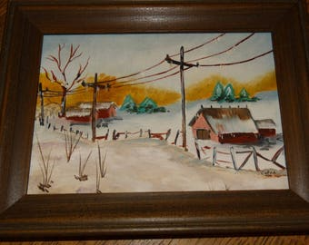 Miniature Oil Painting, Winter Farm, Red Barn, Christmas Winter, Snow, Telephone Lines, Ice cycles, Pine Trees, Country, Signed Calva