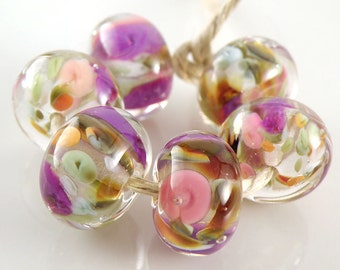 Martinique Encased SRA Lampwork Handmade Artisan Glass Donut/Round Beads Made to Order Set of 6 10x15mm