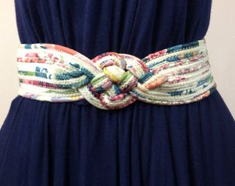 80s Vintage Chunky Woven Cord and Fabric Knotted Belt Velcro Closure