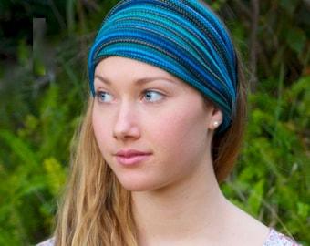 Ocean Blues Tribal Knit Headwrap Headband Dreadband Cotton