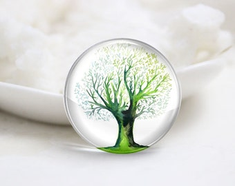 10mm 12mm 14mm 16mm 18mm 20mm 25mm 30mm Handmade Round Photo Glass Cabochons Cover-Tree (P1302)
