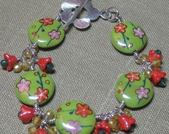 Counting on Spring Flowers Cluster Station Bracelet Two - B188