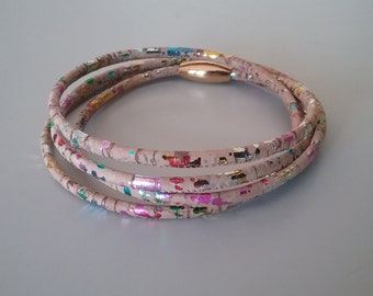 Cork bracelet - colorful, with magnetic clasp in stainless steel.