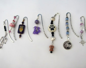 Unique beaded bookmarks, skeleton bookmark, bunny bookmark, owl bookmark, purple bookmark, dog bookmark, beach bookmark, star bookmark