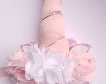 Unicorn Hairband in Blush Pink with Fabric Horn and Flower Crown