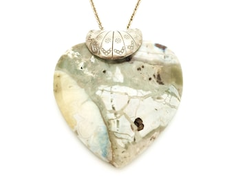 Aqua Terra Jasper Carved Heart Pendant and 18 inch Sterling Silver Chain