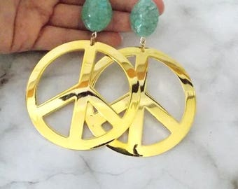 Over-Sized Gold Peace Sign Clip-On Statement Earrings