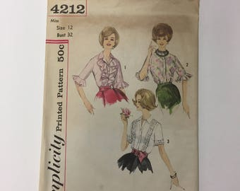 Simplicity 4212 Vintage 60s Sewing Pattern // Ruffled Blouse