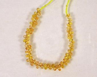 "Yellow Songea sapphire faceted drop briolette beads AAA+ 3-4mm 4"" strand"