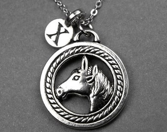 Horse necklace, horse head necklace, horse charm, animal necklace, personalized necklace, initial jewelry, initial charm, monogram initial