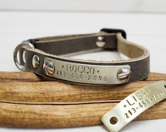 Cat collar, leather collar, Gray collar, cat collar breakaway, leather cat collar, breakaway cat collar,personalized collar.