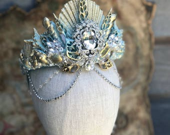 Mermaid Crown, Shell Crown, Seashell Crown, Mermaid Headpiece, Crowns and Tiaras, Gifts For Her, Mermaid Gifts, Costume Accessories, Aqua.