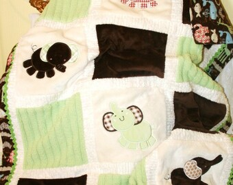 "Personalized Elephant Appliqued Minky Blanket "" Adorable Elephants"""