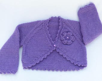 Knit baby sweater. Hand knitted baby clothes. Purple baby cardigan to fit 0 to 3 months. baby girl clothes, baby girl gift, baby shower gift