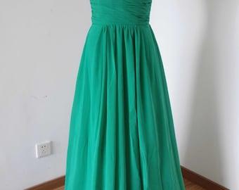 Spaghetti Straps Green Chiffon Long Bridesmaid Dress