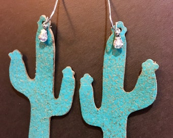 FREE SHIPPING Leather turquoise cactus earrings with a small crystall.  LIGHTWEIGHT!