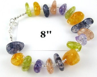 Summer Ice cracked multicolor quartz nugget bracelet 8 inches model A