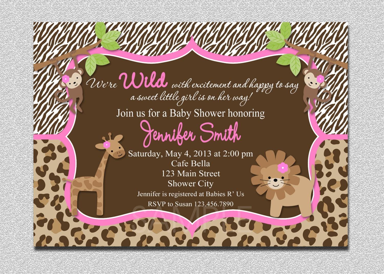 Jungle Baby Shower Invitation Safari Jungle Baby Shower
