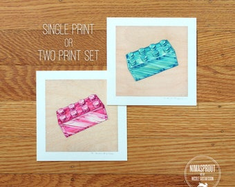 Magenta or Aqua Brick - Mini Fine Art Print