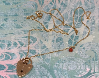 Vintage 9ct 9k Tiny Padlock Necklace with Coral Drop / Layering Necklace / Fully Hallmarked