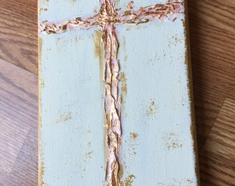 Rose gold, cream and blush textured cross
