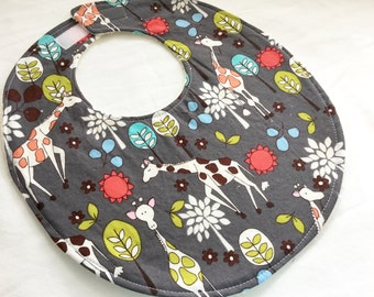 Neutral Baby Girl or Baby Boy Boutique Bib - Giraffe Garden in gray