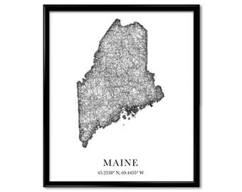 Maine Map, longitude, latitude, City maps, State prints, art print, map print, world map, map, travel map, map art