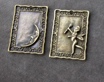 set of 4 Angel Moon pendants
