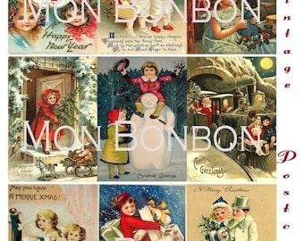 Digital Download of 18 Vintage Christmas Postcards Collage Sheet 2.5 x 3.5 size  ATC ACEO ZNE