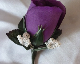 Purple Rose Boutonniere for Weddings, Prom or Dances