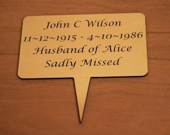 Memorial plaque for cemetery.
