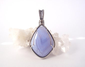 Blue Lace Agate Pendant ~ Handcrafted with Eco-Recycled Sterling Silver ~ Hand-cut Natural Powder Blue Gemstone ~ Throat Chakra Talisman