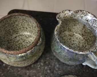 Handmade pottery cream pitcher & sugar bowl.