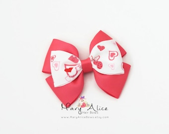 "Valentine's Day Hair Bow- Hearts, 3.5"" Layered Hair Bow, Toddler Hair Bow, No Slip Alligator Clip for Baby Girl- Made to Order"