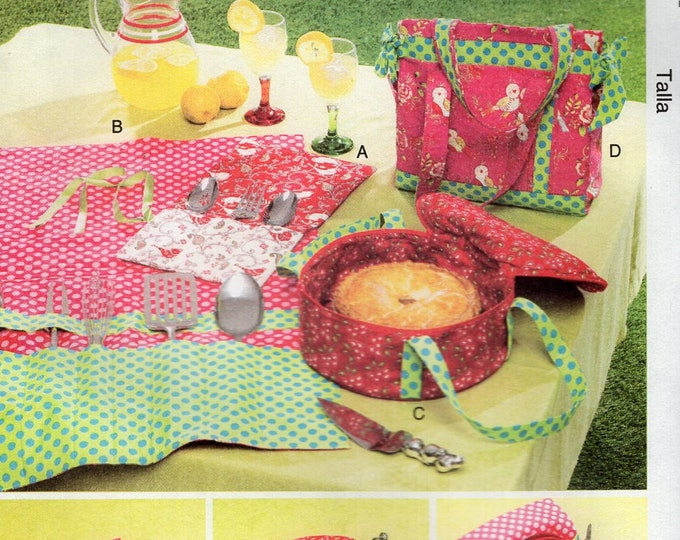 McCall's Free Us Ship Sewing Pattern Crafts Glam Camping Picnic Basket Set Fabric Casserole Holder Silver wrap Folds Flat New Out of Print