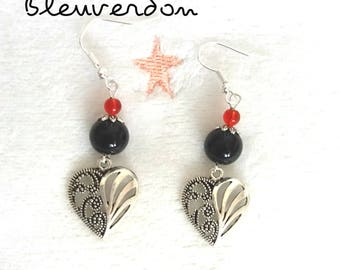 Black and red beads and dangling heart earrings