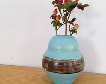 Small Curvy Blue Ceramic Bud Vase