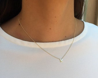MOTHERS DAY SALE 14k solid gold initial necklace