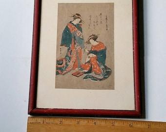 Vintage Japanese 2 Geishas Painting Woodblock print Framed  1800s