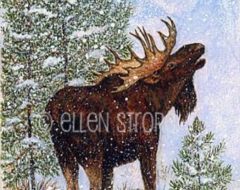 PRINTS, moose, moose decor, giclee prints, Ellen Strope, castteam, cabin decor, rustic decor, snow, trees