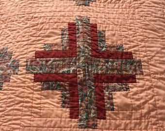 Vintage Hand Stitched Quilt Cross Pattern Block Design - Beautifully Crafted