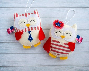 Christmas gift for friend Patriotic decor Christmas favor Owl ornaments Christmas tree Cute gift Coworker gift Patriotic gift colleague gift