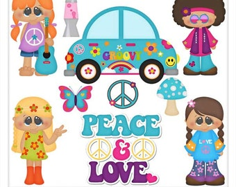 DIGITAL SCRAPBOOKING CLIPART - Peace & Love