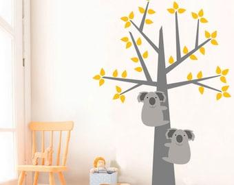 Kids Wall Decal, Koala Wall Sticker - Nursery Removable Vinyl Wall Decal, Children Wall Decor