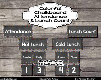 Colorful Chalkboard Attendance and Lunch Count with Editable Name Cards - Digital Printable File - INSTANT DOWNLOAD