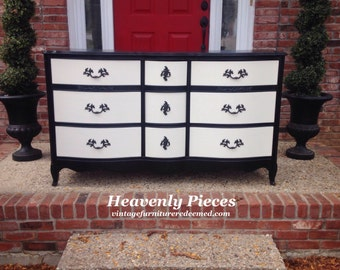 Beautiful French Provincial Triple Dresser, Hand Painted