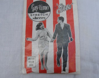 "Vintage 1960's ""Elite Gay-Time"" Nylon full fashioned seamless stockings"