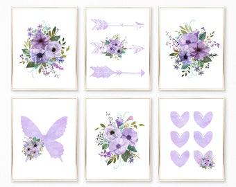 Purple Floral Watercolor Nursery Art. Purple Nursery Printables. Purple Prints. Purple Floral Bedroom. Purple Wall Art. lilac lavender art