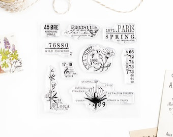 Clear Stamps - Spring, The Seasons Collection for Paper Crafts, Scrapbooking, Art Journaling, Stationery, Traveler's Notebook 4x4 in