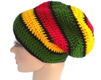 Rasta striped dreadlock hat, red gold green, big slouchy boho beanie, jamaica reggae accessories